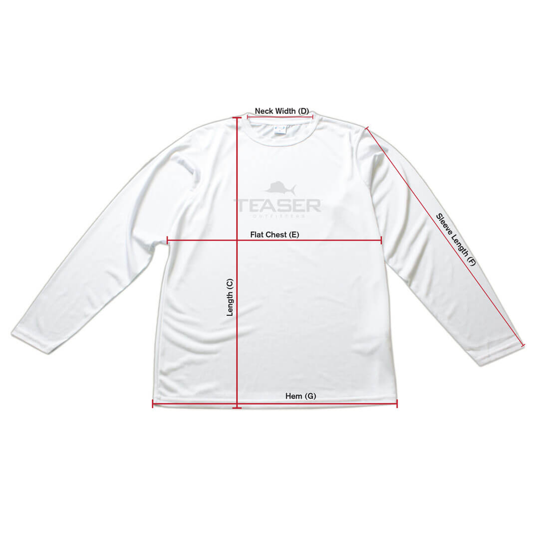 Mens Coastal Performance Long Sleeve Size Chart